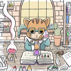 Alchemist Cat Brewing a Potion