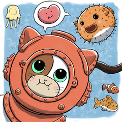 Underwater Cat Using Diving Dress