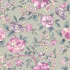 Flower seamless pattern. Floral garden background