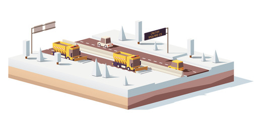 Vector low poly snowplows working on the highway