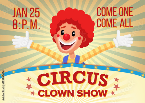 circus clown poster invite template vector amusement park party