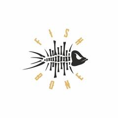 Modern vector professional sign logo fish bone