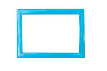 Blue wood frame on white background.