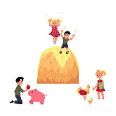 vector flat teen children at countryside scenes set. Boy feeding pig, girl feeding chickens and rooster, kids playing at big haystack. Isolated illustration on a white background.