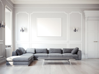 Classic interior with large gray sofa. 3d rendering