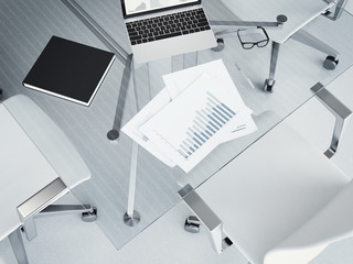 Glass table with business charts. 3d rendering