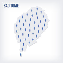 Vector people map of Sao Tome . The concept of population.