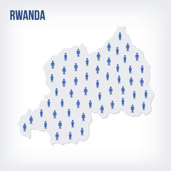 Vector people map of Rwanda . The concept of population.
