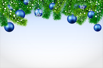 New Year banner with spruce branches and blue Christmas balls.