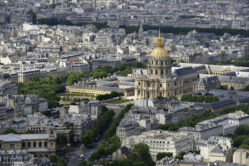 Aerial view of the Invalides and its golden dome, Paris, France