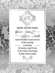 Vintage baroque style wedding invitation card template.