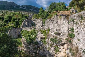 Ruined buildings of Stari Bar fortress near Bar city in Montenegro