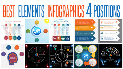 Set 10 universal templates elements Infographics for 4 positions