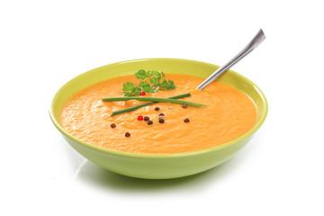 soupe sur fond blanc