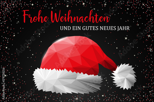 frohe weihnachten karte mit weihnachtsm tze stockfotos. Black Bedroom Furniture Sets. Home Design Ideas