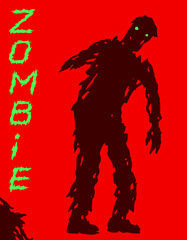 One-armed zombie silhouette in leaky clothes. Vector illustration.