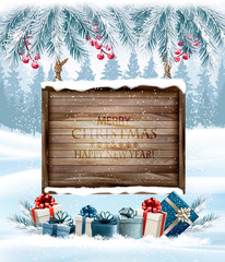 Merry Christmas Background with branches of tree and wooden board.Vector