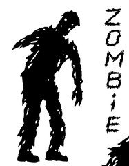 One-armed black zombie silhouette in leaky clothes. Vector illustration.