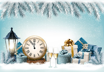 Holiday Christmas background with a gift boxes and clock. Vector