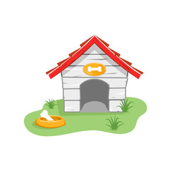 Vector illustration isolated on white background funny house for dog on green lawn with bowl for eating.