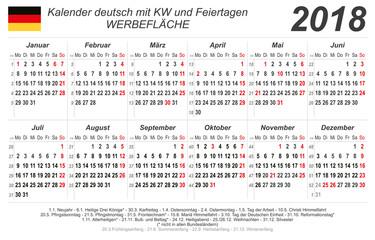 Kalender 2018 - grau - quer - deutsch - mit Feiertagen