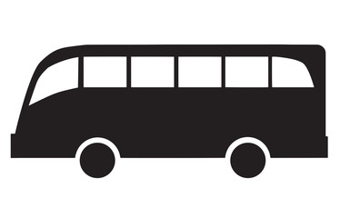 black silhouette vector of a bus on white background