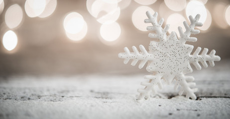 Snowflake shaped Christmas ornament and space for text
