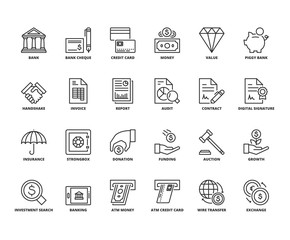 Line icons about finances