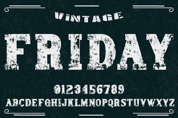 Vintage Font handcrafted vector named hipster Vintage Font handcrafted vector