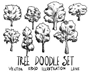Set of Tree illustration Hand drawn doodle Sketch line vector eps10