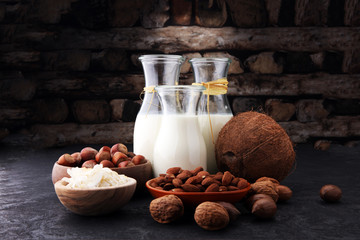 Alternative types of milks. Vegan substitute dairy milk