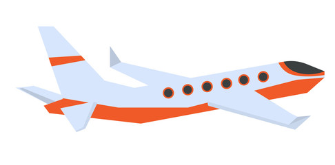 Commercial passenger airplane vector cartoon illustration isolated on white background.