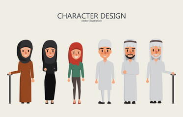 vector arab family and muslim people and saudi cartoon man and woman.