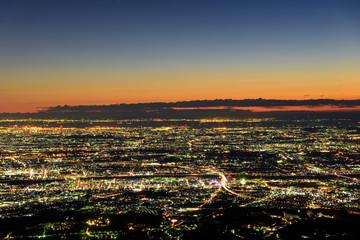東京~横浜~湘南の夜景 マジックアワー 丹沢大山山頂からの風景