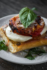 roasted tomato with mozzarella on toasted bread closeup