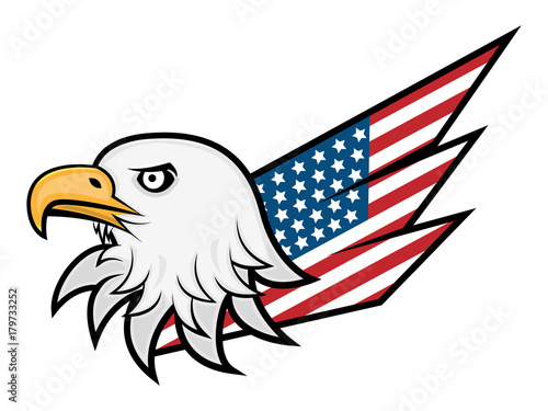 Eagle Head And American Flag Wing Logo Vector Stockfotos Und