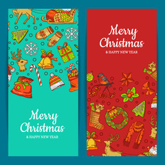 Vector hand drawn colored christmas elements with santa, xmas tree, gifts and bells banner templates with place for text