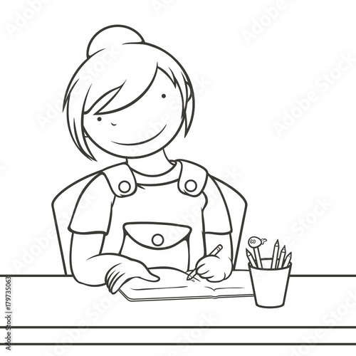 Happy Girl Doing School Homework Character Design Coloring Page Vector Illustration