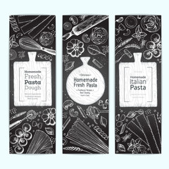 Italian pasta vertical banner set. Hand drawn vector illustration. Collection of pasta different types. Italian food design template. Engraved sketch style.