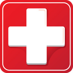 Icon representing cross health, hospital or pharmacy. Ideal for medical and institutional materials
