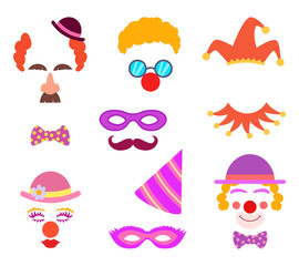 Scrapbook elements. Circus or party costumes and clown glasses and hairs