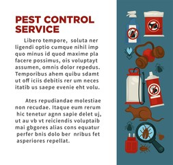 Extermination or sanitary pest control disinfection service vector flat design poster