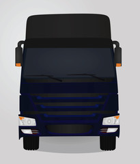 Blue truck. front view. vector illustration