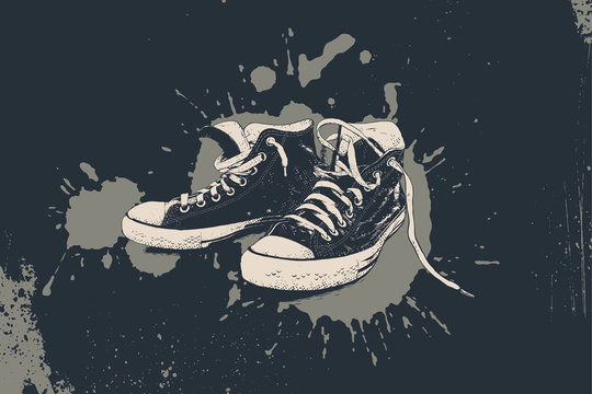 Hand drawn sneakers on grunge background. Vector isolated illustration.