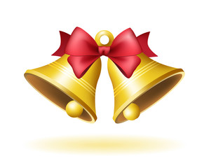 Christmas Time! Bell on White Background . Isolated Vector Illustration