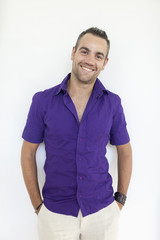 Portrait of a young man in a purple shirt