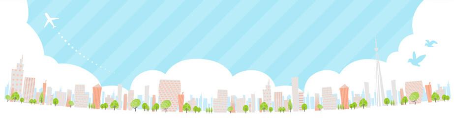 Photo sur Plexiglas Bleu clair Townscape back image illustration_skyline wide