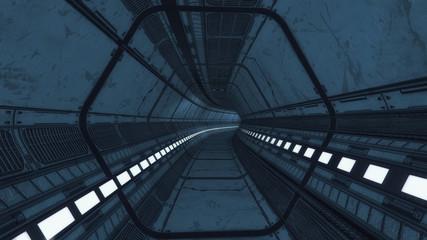 3d rendering. Modern and futuristic spaceship corridor