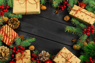 Christmas wooden background with Christmas decoration