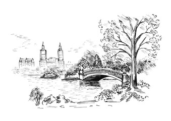 Sketch of cityscape in New York city show central park. vector illustration